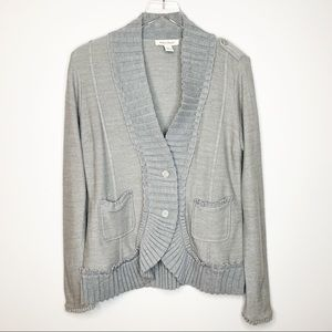 WHBM Gray Ribbed Trim Wool Blend Cardigan Large